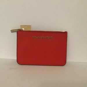 MICHAEL KORS Small Coin Pouch Purse Red